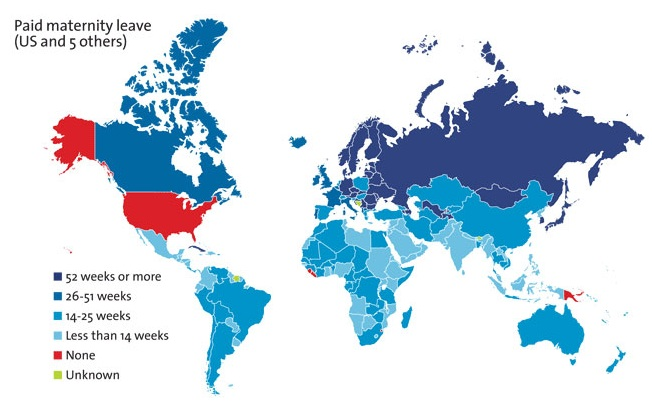 Countries in blue offer paid maternity leave. Those in red do not. (Map by the McGill Institute.)