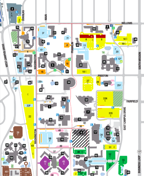 Just a quarter or so of CMU's 11,000 parking spots are designated for commuters in campus' academic center, located north of Broomfield Road. Commuter lots are colored in yellow. (Courtesy: CMU.)
