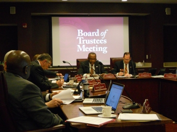 President George Ross speaks to the Board of Trustees, in the President's Conference Room, Bovee University Center, on the Campus of Central Michigan University, Mount Pleasant, Mich., December 17, 2015.