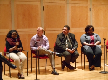 Senior Asha Davis answers a question from an audience member in the Charles V. Park Library Auditorium, on the campus of Central Michigan University, Mount Pleasant, Michigan, on Friday, April 8, 2016. Pictured, from left to right, Asha Davis, Matt Johnson, Terencio McGlasson, and Andrea Jasper.